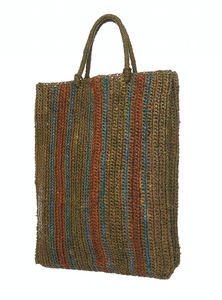 Raffia Bag Shopper khaki-brique