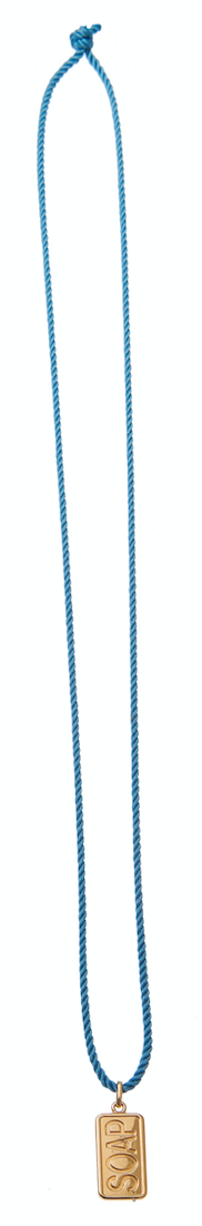 Soap Charm Cord Necklace - Blue