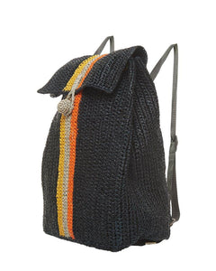 Raffia Bag Backpack Black mix