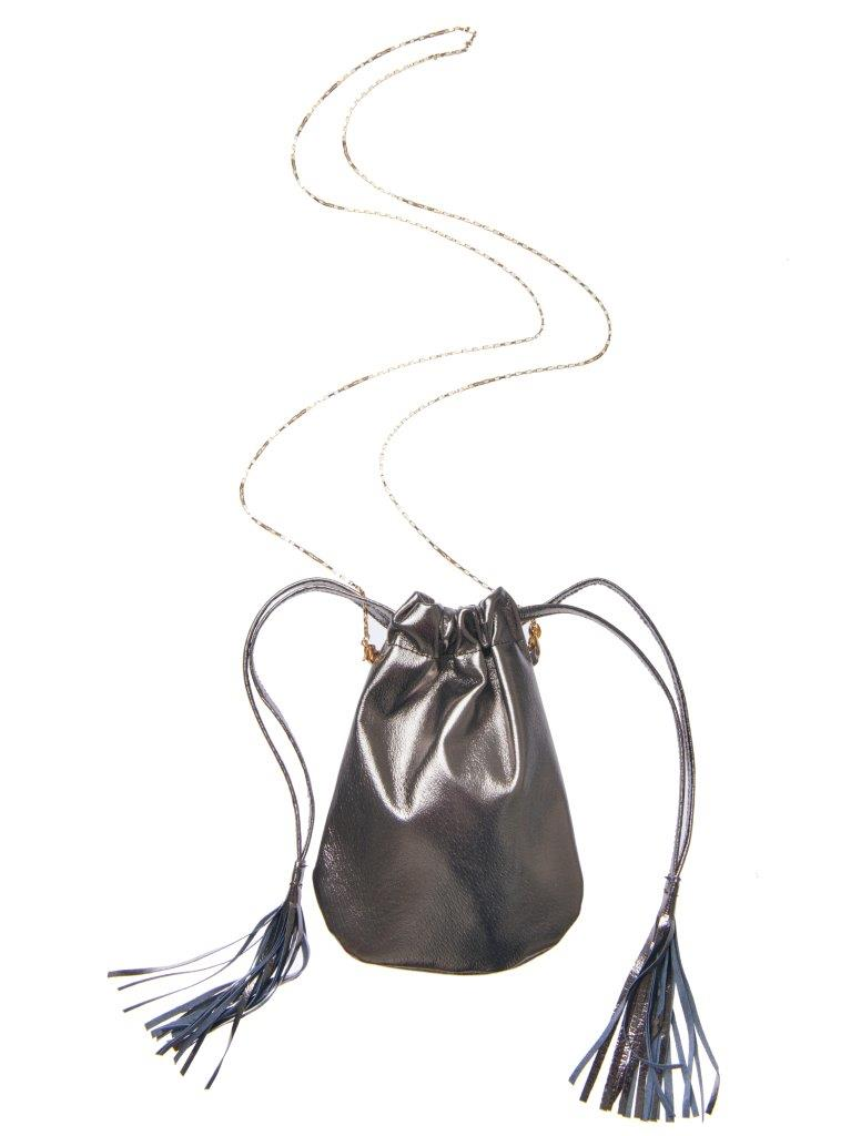 Fringe Bag mini - Metallic grey
