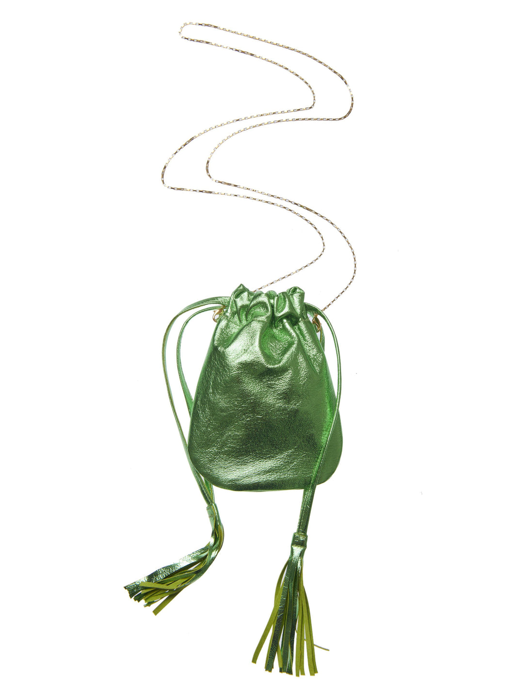 Fringe Bag mini - Metallic green