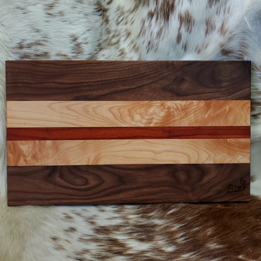 Walnut, Maple, and Padauk Cutting Board