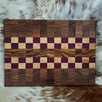 Walnut, purple heart, maple, zebrawood quilt board