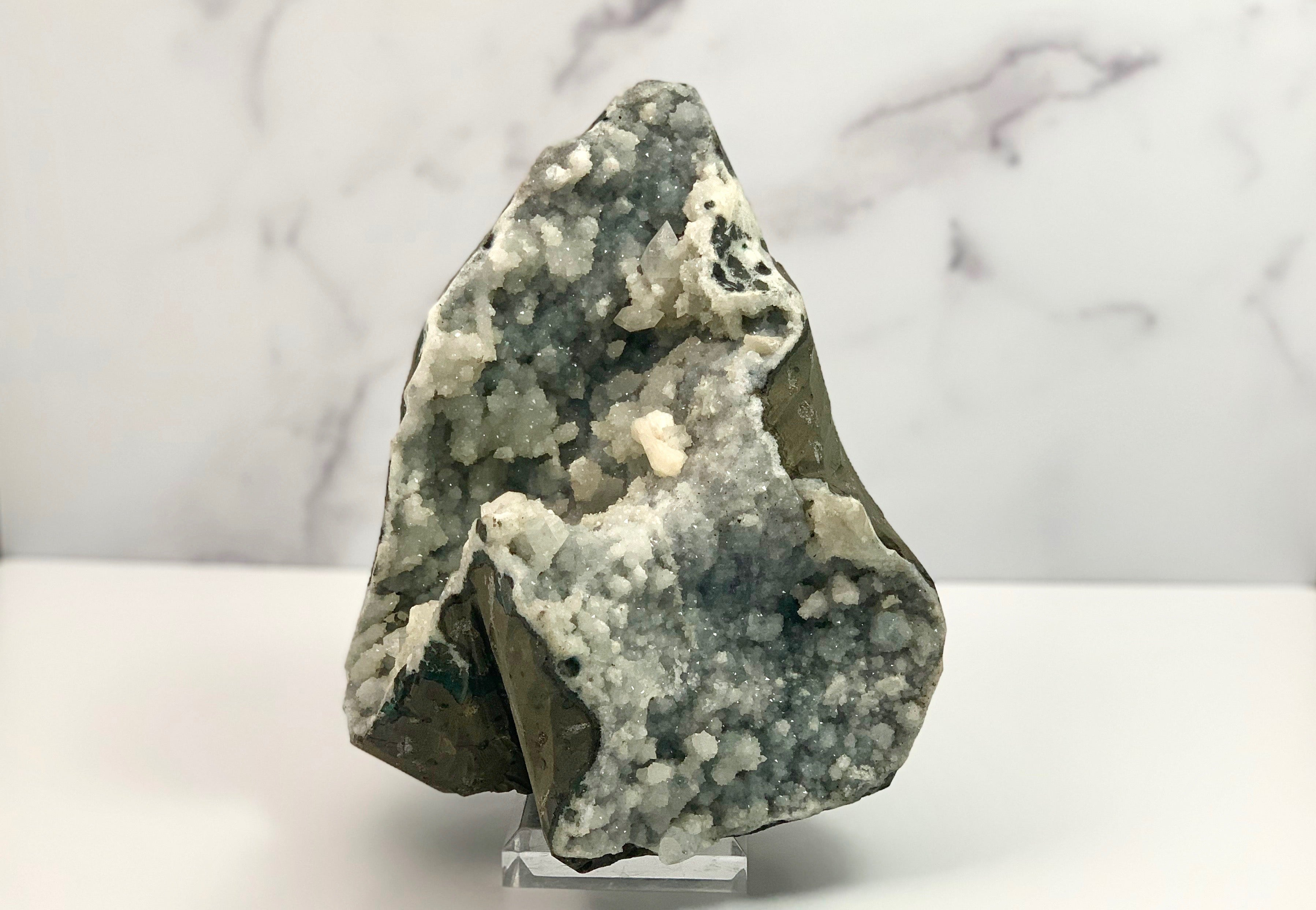 Large Druzy Chalcedony with Apophyllite and Stilbite