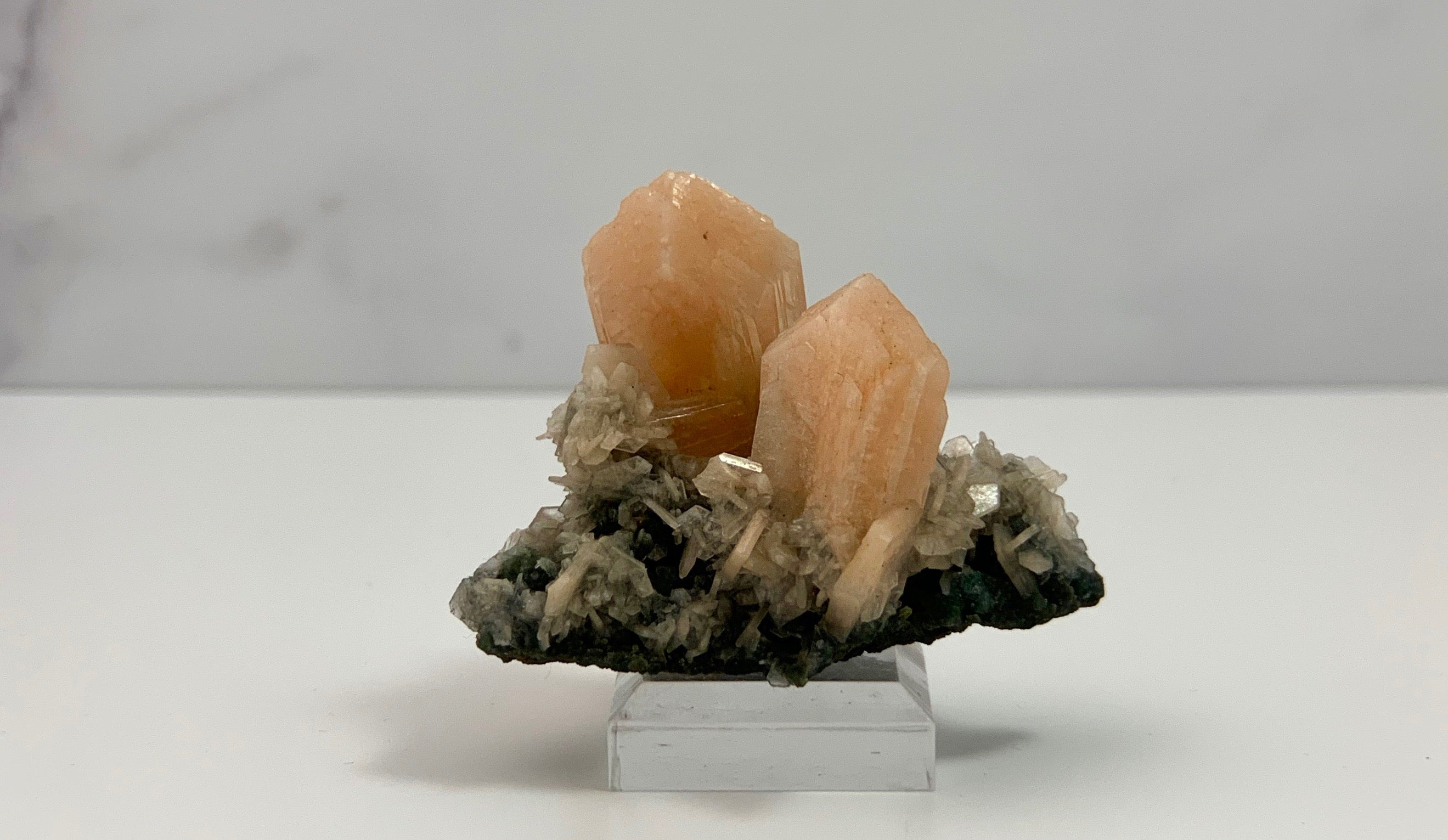 Pink Stilbite with Chalcedony