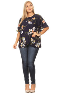 CURVY SHEER TOP - NAVY AND IVORY