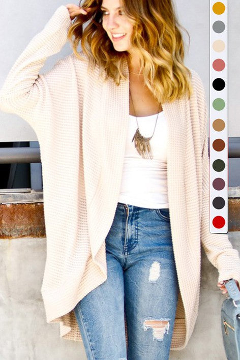 WAFFLE CARDIGAN - COLOR OPTIONS