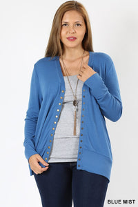 CURVY SNAP CARDIGAN (MULTIPLE COLORS)
