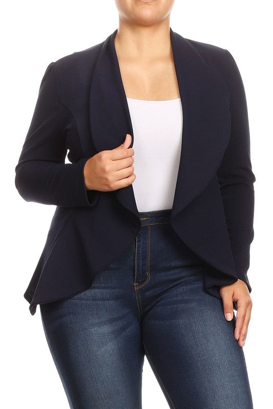 CURVY ALL ABLAZE BLAZER - NAVY AND BLACK