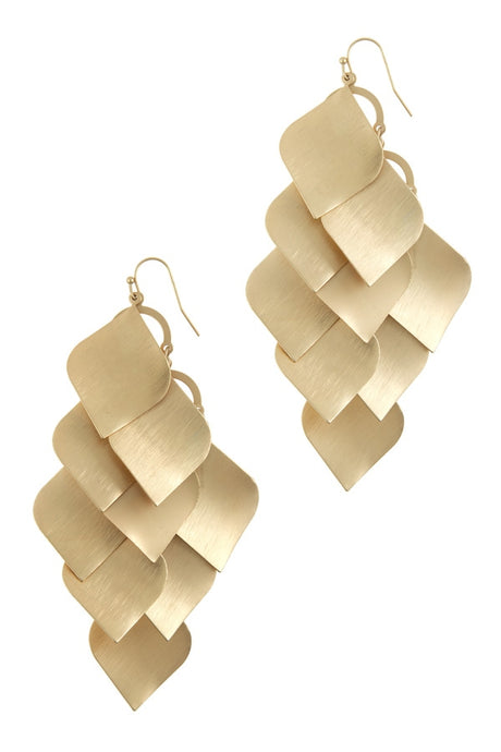 GOLD LEAVES DANGLE EARRINGS