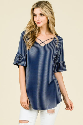NAVY STRIPE RUFFLE SLEEVE - BEST SELLER
