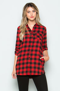 CURVY PLAID FLANNEL TUNIC