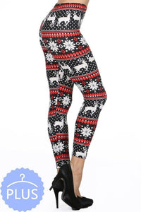 CURVY SNOWFLAKE AND REINDEER LEGGINGS - BLACK AND RED