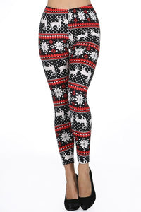 SNOWFLAKE AND REINDEER LEGGINGS - BLACK AND RED