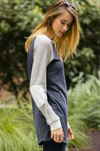 RAGLAN LONG SLEEVE TOP WITH ELBOW PATCHES - NAVY