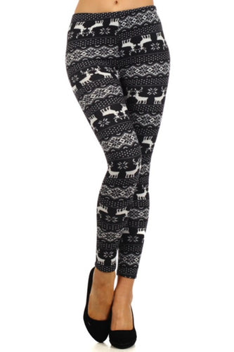 SNOWFLAKE AND REINDEER LEGGINGS - BLACK AND WHITE