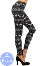 CURVY SNOWFLAKE AND REINDEER LEGGINGS - BLACK AND WHITE