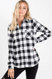 BUFFALO PLAID FAUX FUR LINED SHIRT