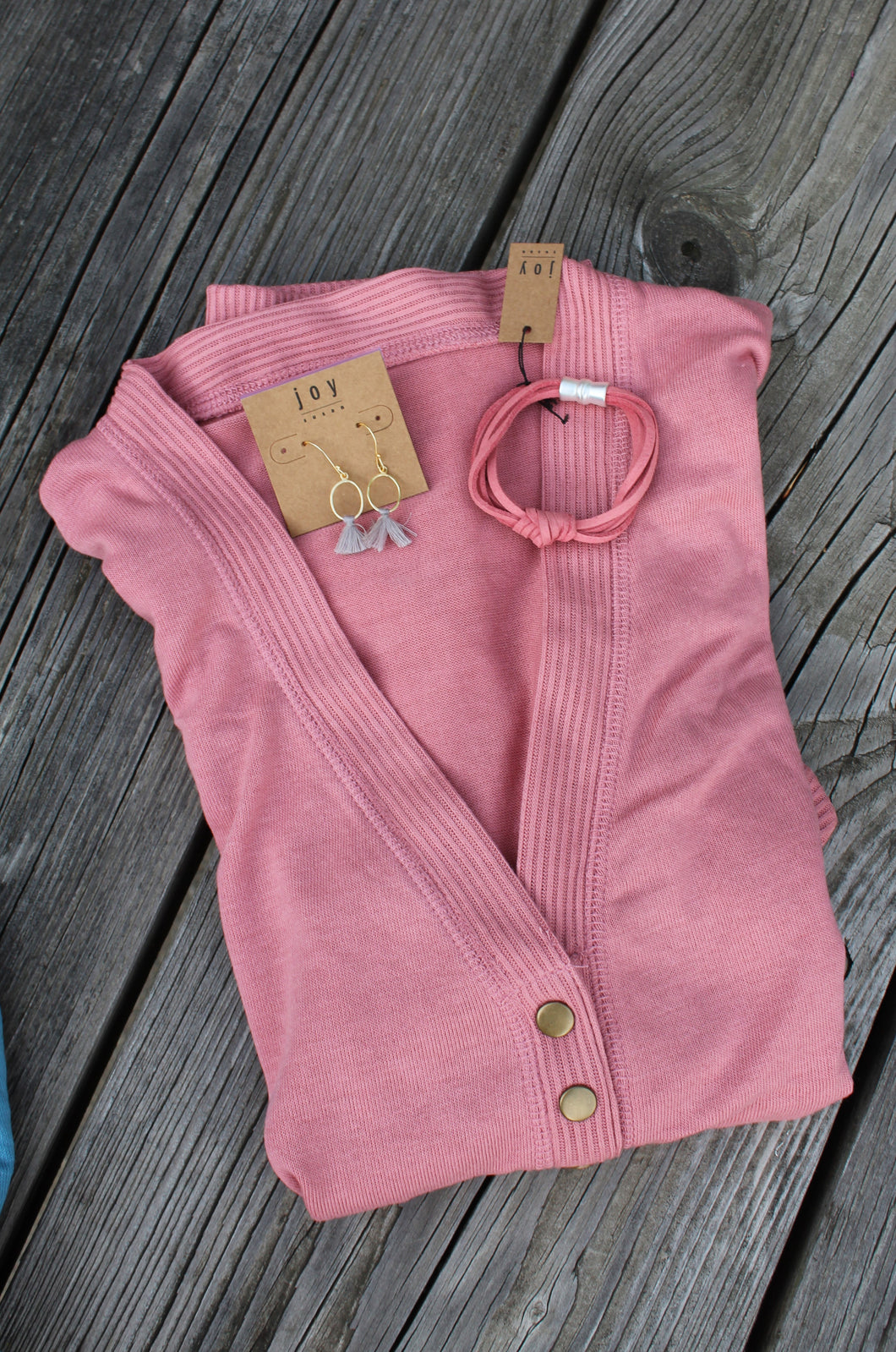 CURVY 3/4 SLEEVE SNAP CARDIGAN - DUSTY ROSE