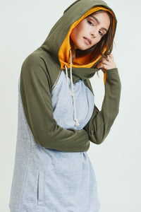 DOUBLE HOODIE - MUSTARD AND OLIVE