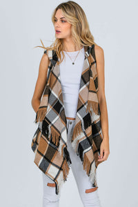 BUFFALO PLAID HOODED VEST
