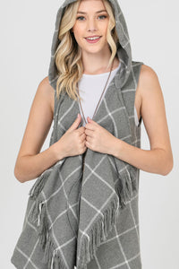 GRAY AND WHITE PLAID HOODED VEST