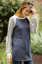 RAGLAN LONG SLEEVE TOP WITH ELBOW PATCHES - CHARCOAL
