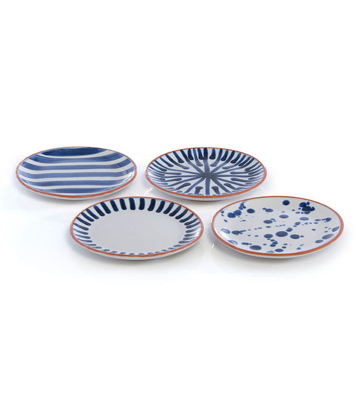 Stoneware Appetizer Plates - Assorted Set of 4 - Indigo & White