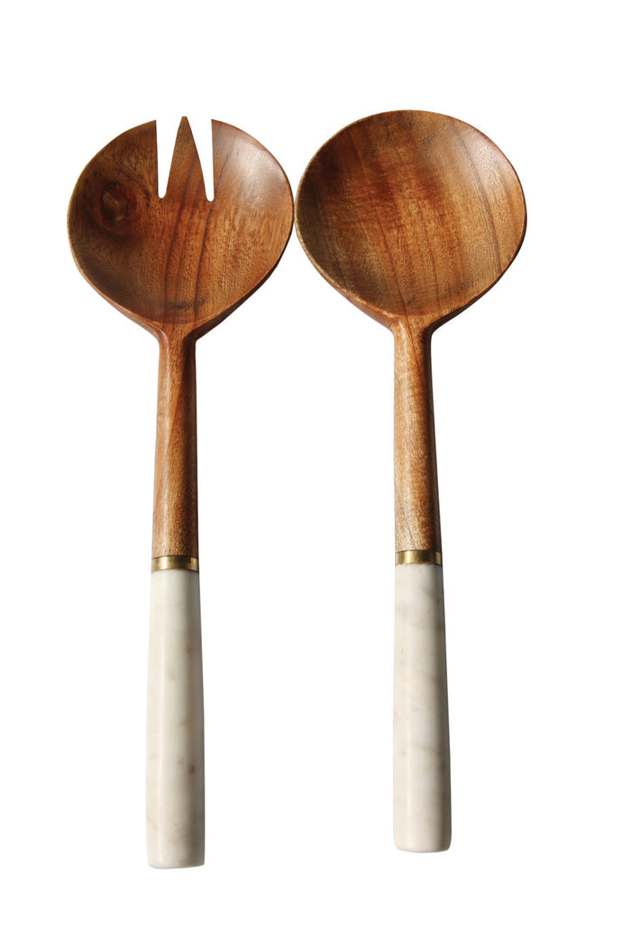 Dark Wood & Marble Servers with Gold Band - Set of 2