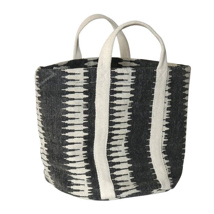 VENICE JUTE & COTTON TOTE - NATURAL/BLACK