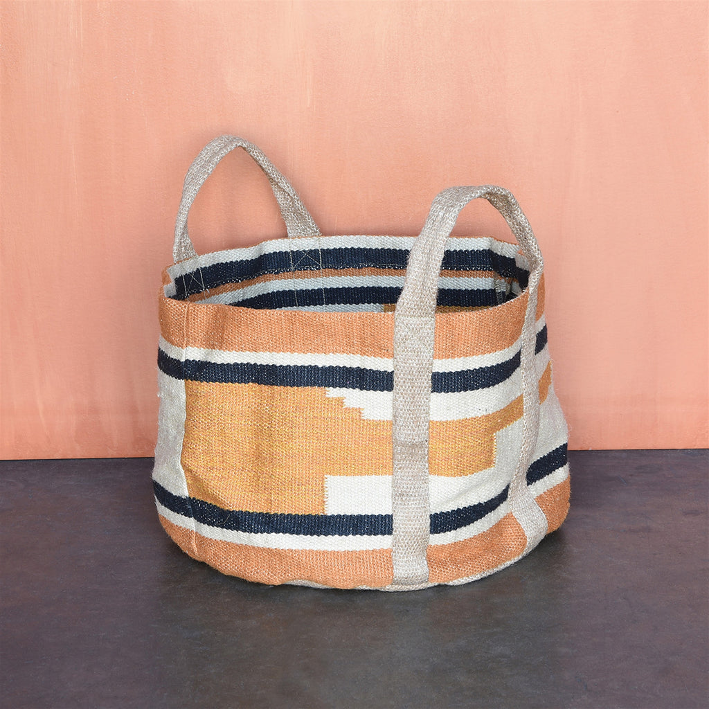 HORIZON JUTE TOTE - ORANGE/BLACK
