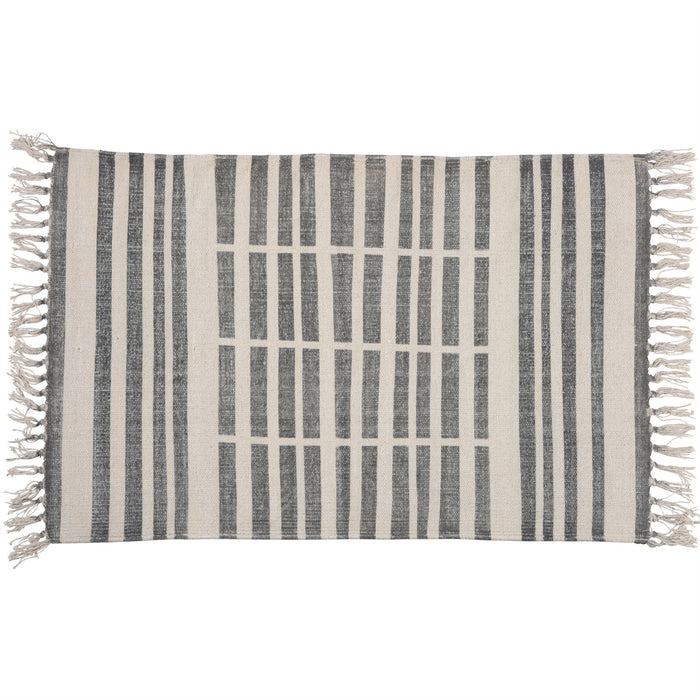 CENTERPOINT STRIPE BLOCK PRINT COTTON RUG