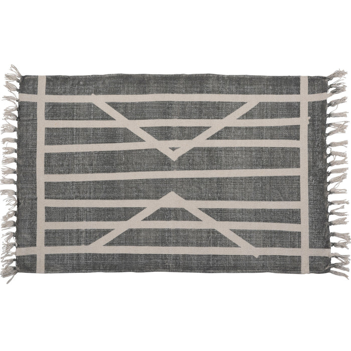 ARROWPOINT STRIPE BLOCK PRINT COTTON RUG