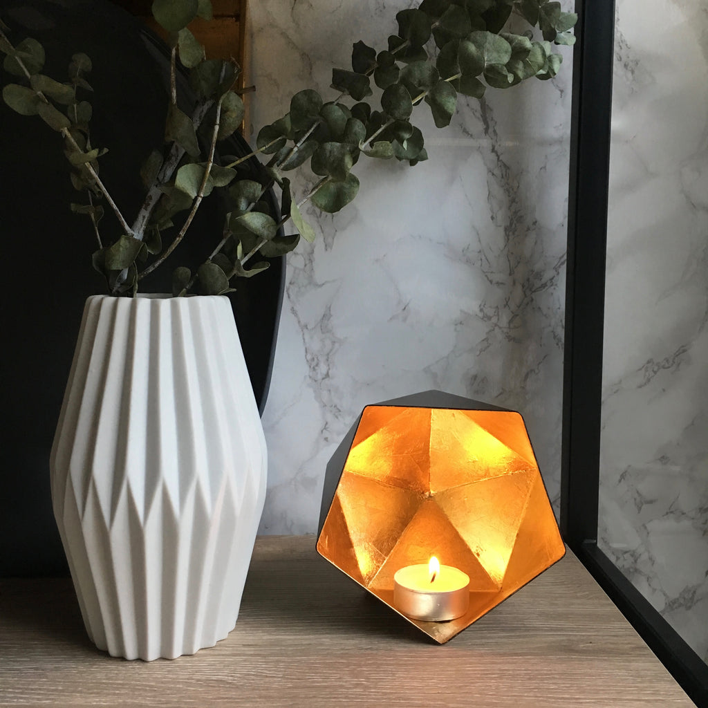 Geometric Tea Light Votive - Matte Black with Gold Leafing