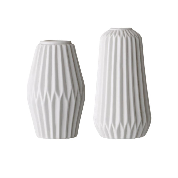 Fluted Porcelain Vase Set, White - Set of 2 Heights