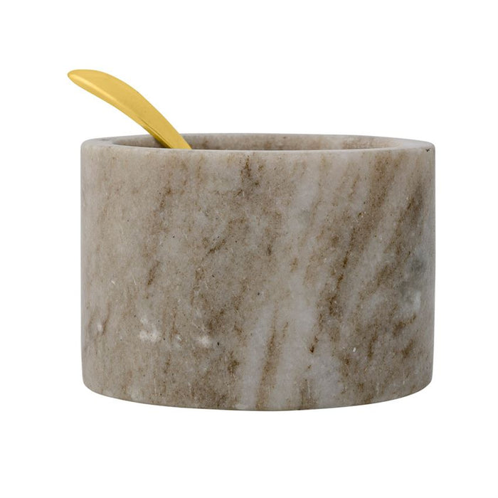 Marble Salt Jar with Brass Spoon