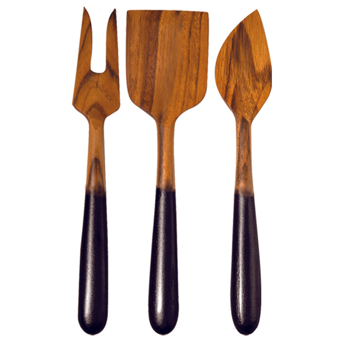 Teak Cheese Knives With Black Ombre Handles - Set of 3