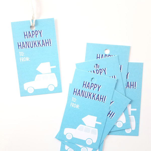 Dreidel Atop Car Gift Tags - 10 pack