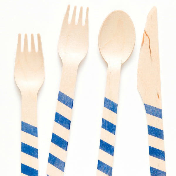 Navy Striped Wooden Utensils