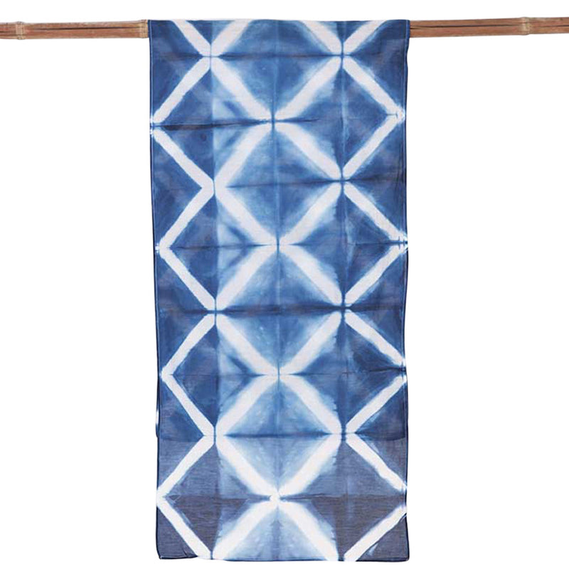 Grille Indigo </p>Small Hand Dyed Scarf
