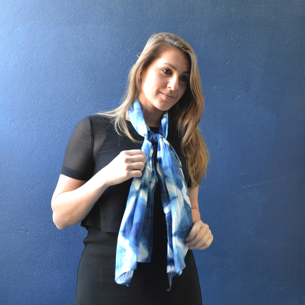 Grille Indigo Small Hand Dyed Scarf