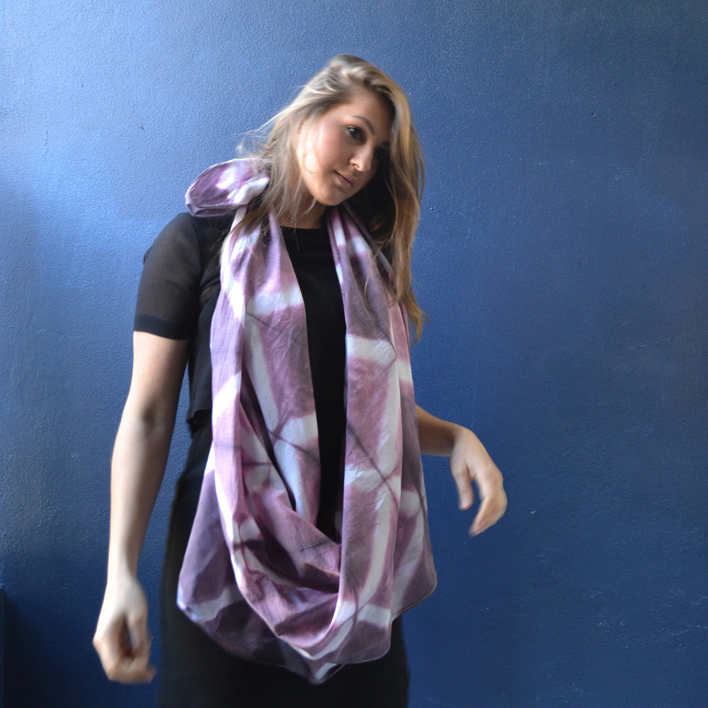 Grille Plum Hand Dyed Scarf