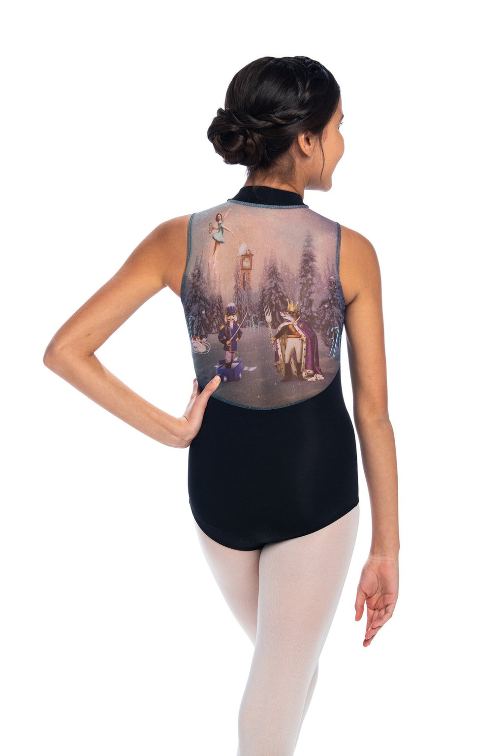 Ainsliewear Zip front Leotard with Nutcracker Print- Girls