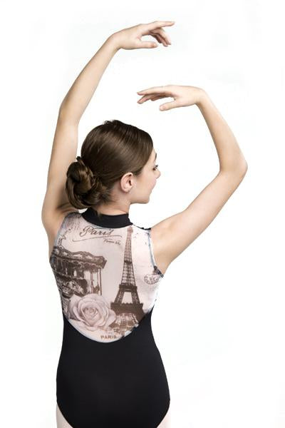 Ainsliewear Zip Front Leotard with Paris Print -Girls