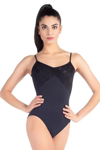 So Danca Spaghetti Strap/Fanned Lace Bodysuit