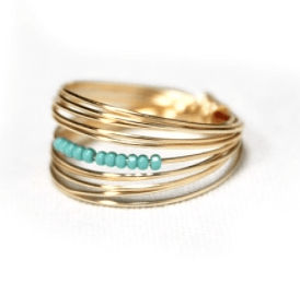 Beaded Go Ring - 14k Gold