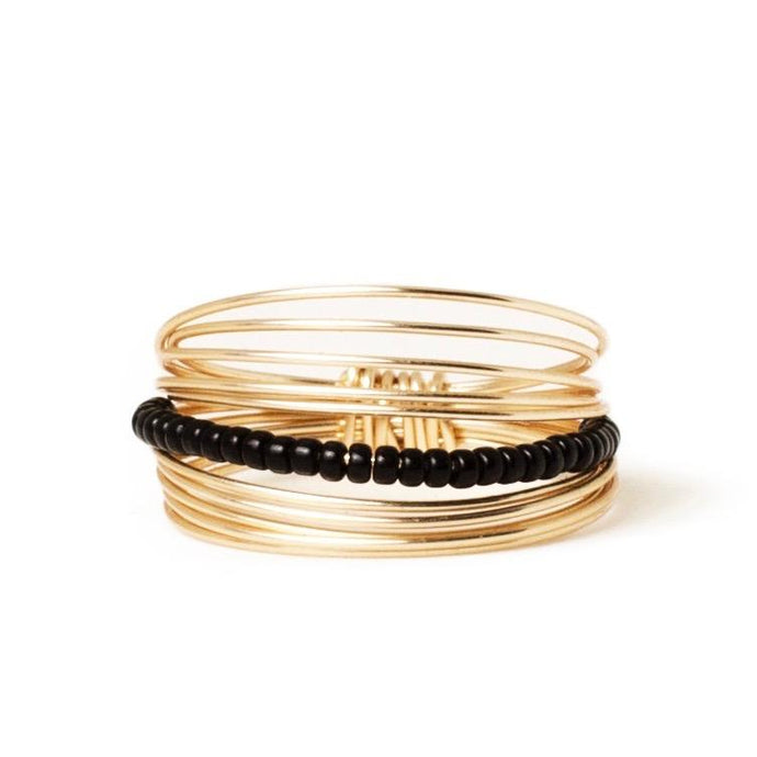 Go Ring - 14k Gold + Black Beads