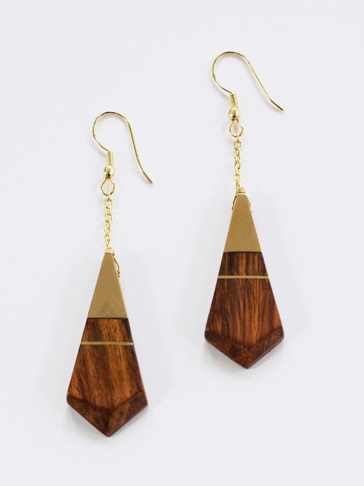 Faceted Wood Earrings