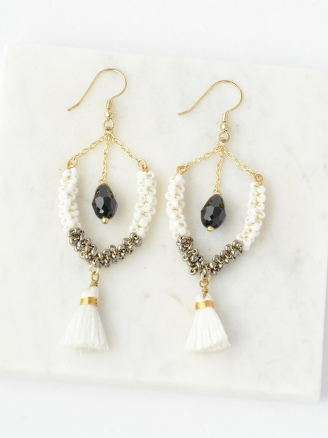 Multi-Textured Tassel Earrings