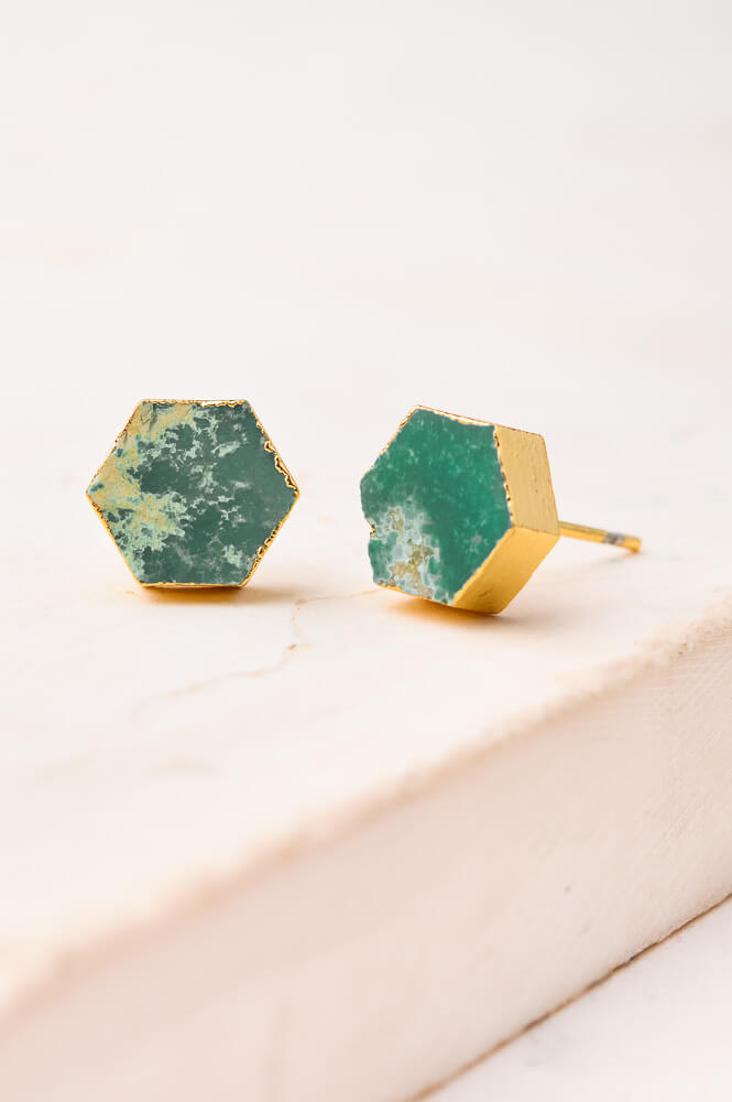 Natalie Hexagon Studs